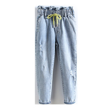 Girls Casual Jeans 2020 New Kids Drawstring Teenage Childrens With Hole Spring Autumn Children Clothes