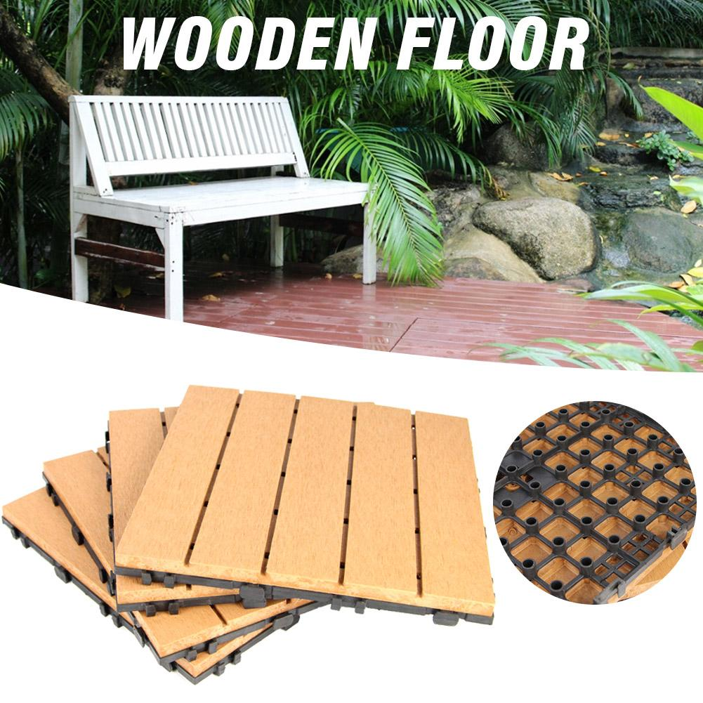 Patio Interlocking Flooring Tiles In Solid Teak Wood Suitable For Outdoor Applications Stripe Pattern 30 30 2 5cm Natural Wood