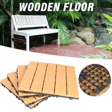 Terrasse Verriegelung Bodenbelag Fliesen In Massivem Teakholz Geeignet Für Außen Anwendungen Streifen Muster 30*30*2,5 cm natürliche Holz