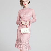 Korean Fashion Women Dress Woman High Waist Lace D