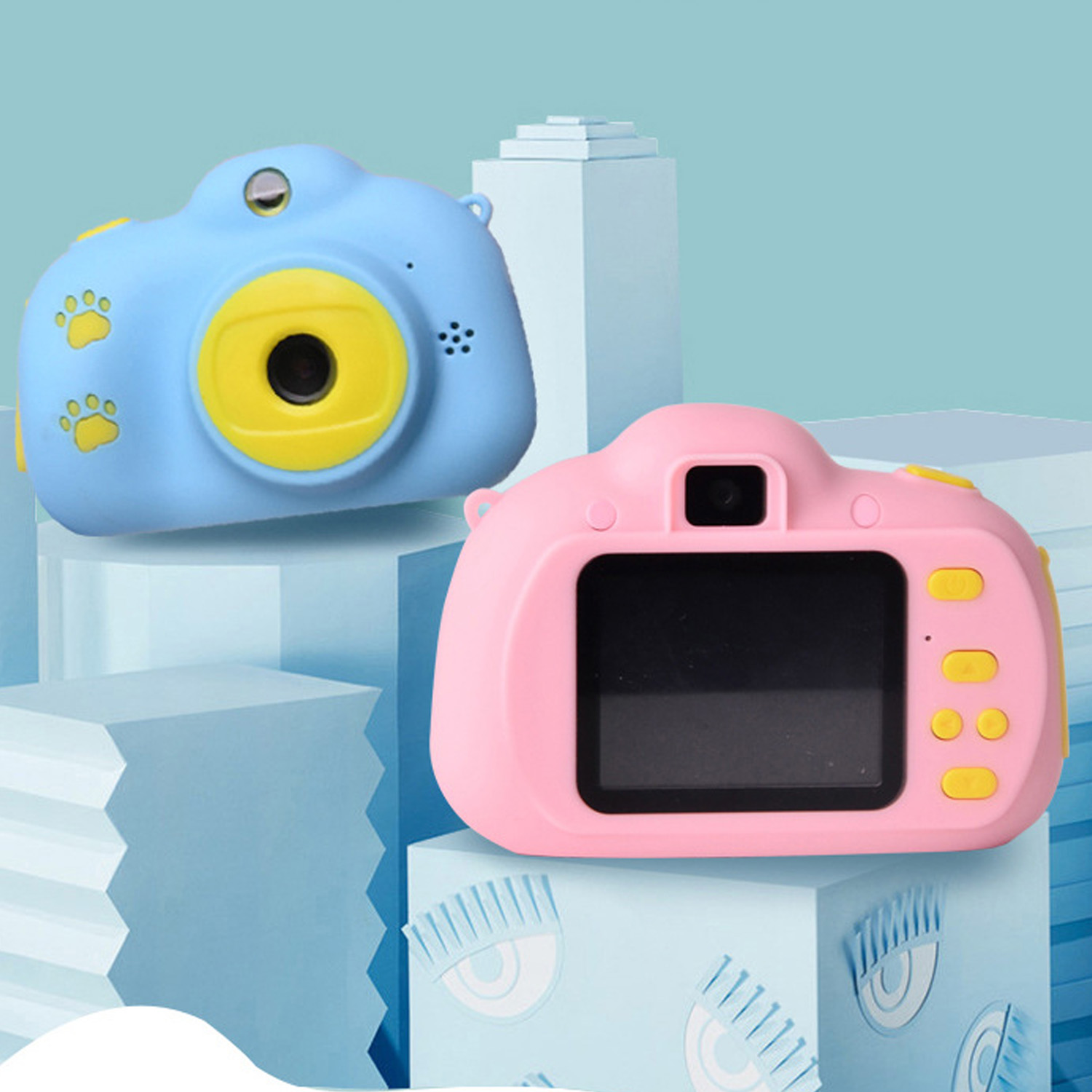 Kids Mini HD Digital Camera Multifunction Camcorder Camera Chargeable Electronic Photo Video Camera Toy With 32G Memory Card
