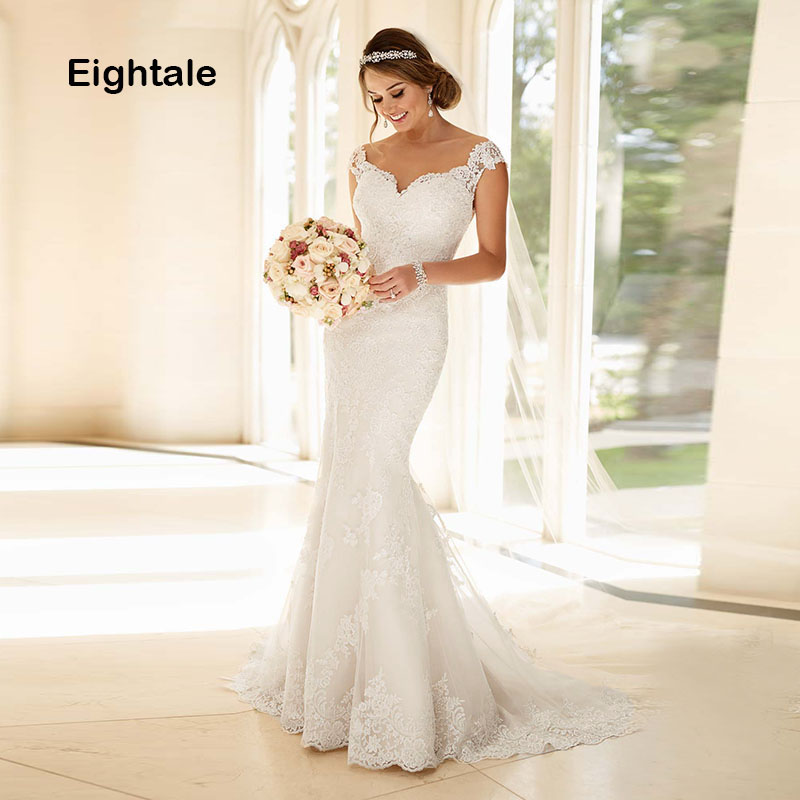 Eightale Mermaid Wedding Dresses Lace Sweetheart Boho Bridal Dress Cap Sleeves Appliques Wedding Gowns 2019 Vestido Novia