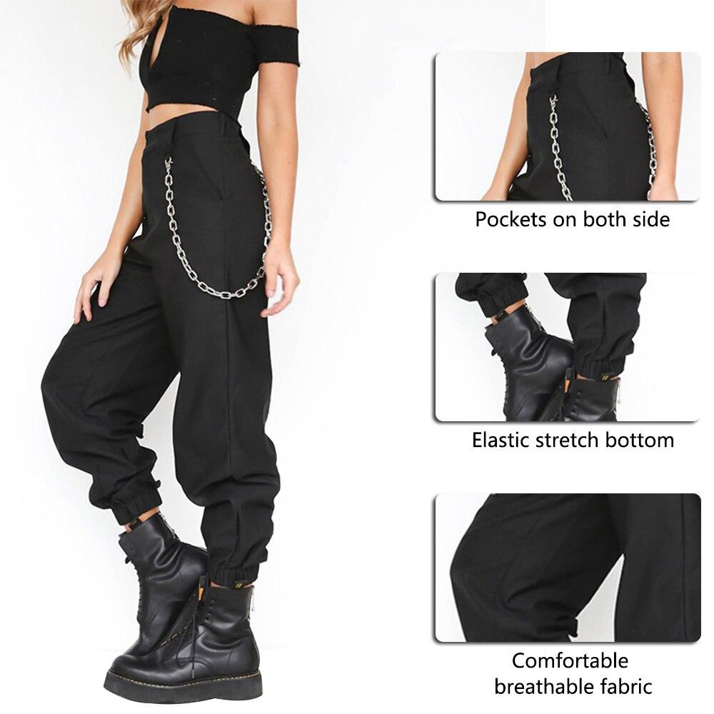 PUIMENTIUA 19 Autumn vintage chain black cargo pants women high waist pants joggers baggy trousers women streetwear plus size 25