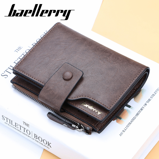 Hasp Men Vintage short leather card wallet