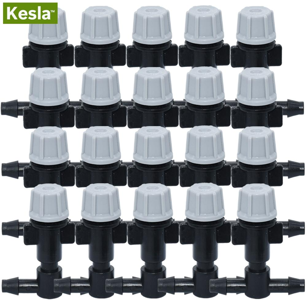 KESLA 20PCS Adjustable Garden Drip Irrigation Misting Nozzles Micro Flow Head Drippers Fog Spray Hose W/ 4/7mm Barb Greenhouse