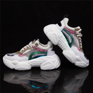 Image 3 - MOOREGOOD Brand Wild Lace up Hollow out Ladies Sneakers Youth Trend Thick bottom  shoes woman Wear resistant кроссовки женские