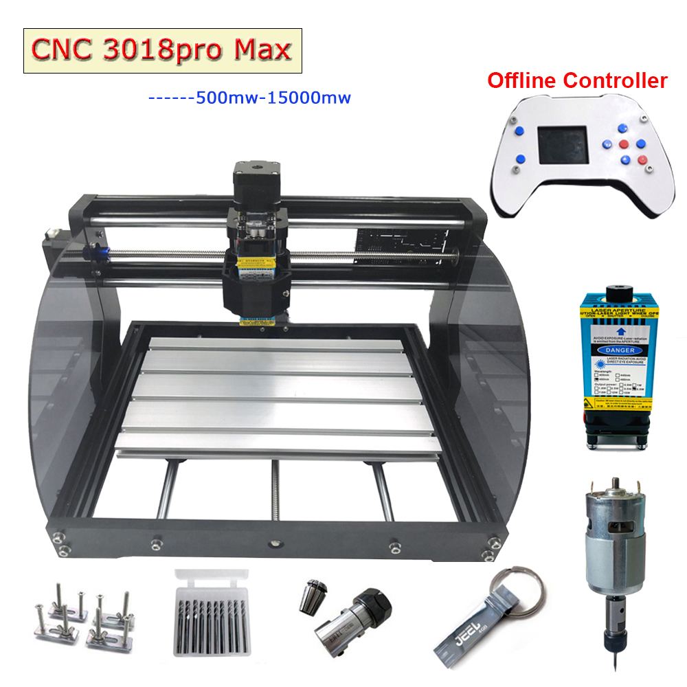 CNC 3018 Pro Max Laser Engraving Machine Power 0.5W-15W 3axis Router DIY MINI Woodworking Laser Engraver With Offline Controller