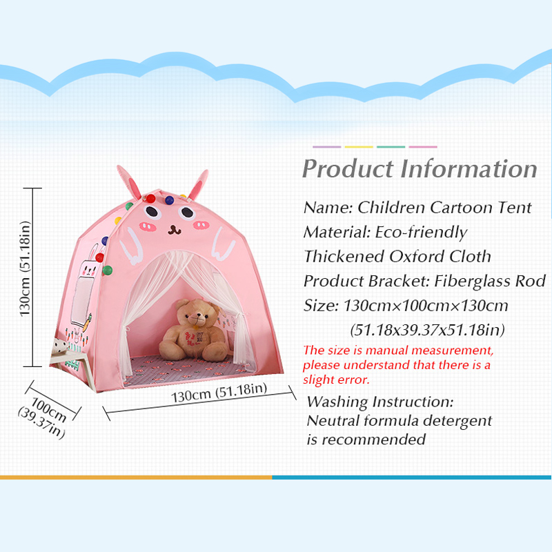 Baby Shining Baby Play House Play Tent Lights Playpen Tipi Play House 130cm with Window Pocket Cotton Mat Boy Girl Birthday Gift - 2