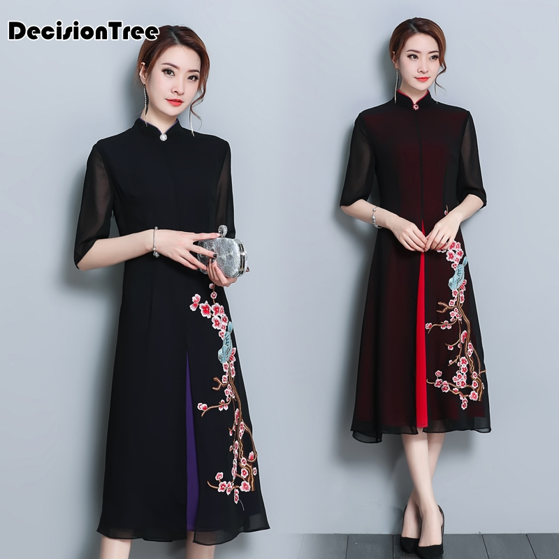 2019 Cheongsam Ao Dai Dress Vietnam Clothing Vietnamese Women Dress Arrival Floral Print Qipao Novelty Vietnam Ao Dai