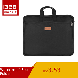 Waterproof File Folder Capacity Double Layers Document Holder Zipper File Bag with Handle Waterproof Canvas Handbag(China)