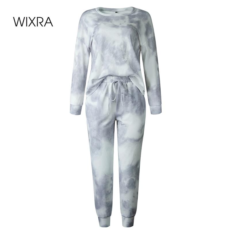 Wixra trajes de mujer ropa de hogar de ocio traje primavera otoño manga larga cuello redondo Tops + Pantalones largos de encaje conjuntos de 2 piezas