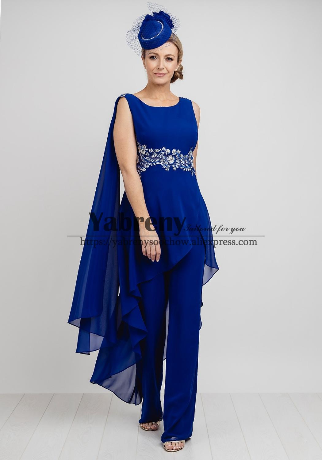 Modern Mother Of The Bride Pant Suit Dress 2020 New Arrival Royal Blue Chiffon Trousers Set