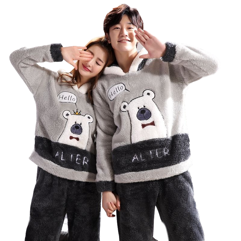 Men And Women Warm Home Service Cartoon Suit Autumn And Winter Thick Flannel Couple Pajamas Long-Sleeved Plush