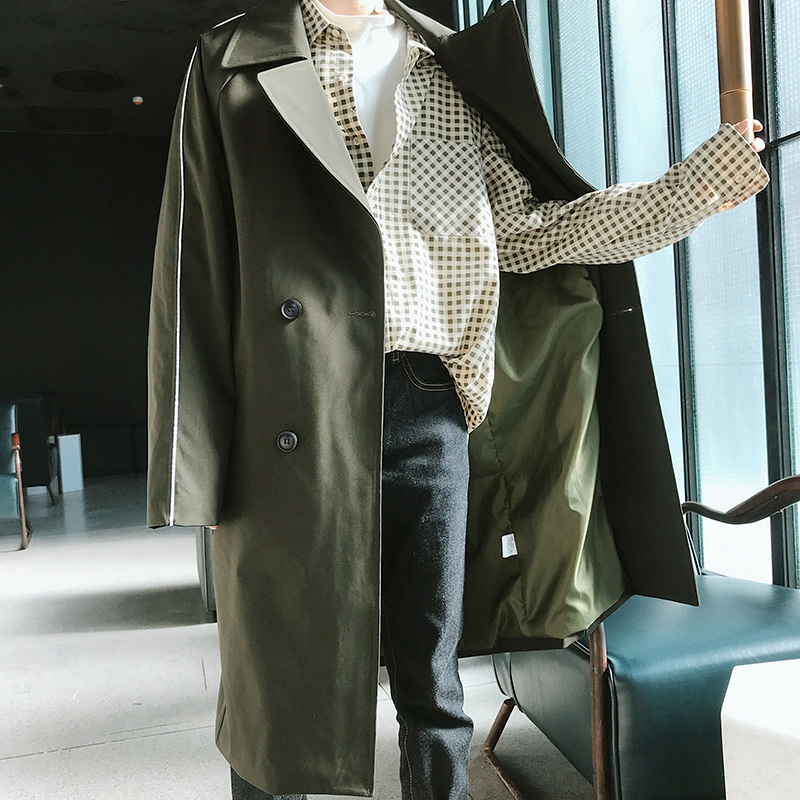 Men Trenchcoat Autumn Winter New Men's Fashion Solid Casual Windbreaker Double Breasted Lapel Collar Long Slim Outwear