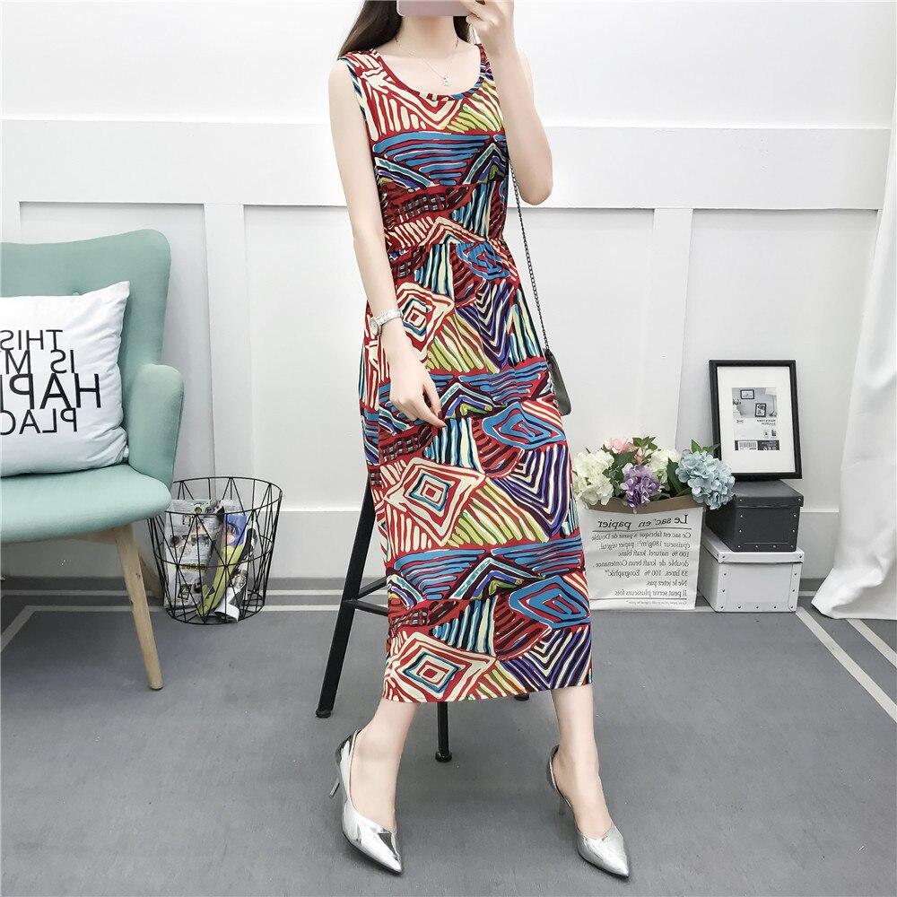 2019 Floral Print Sleeveless Vest Skirt Mid-length Large Size Slimming Waist Hugging Cotton Silk Dress Women's