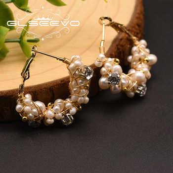 GLSEEVO Handmade Natural Fresh Water Pearl Hoop Earrings For Women Wedding Party Natural Stone Earrings Luxury Jewelry GE0870 - DISCOUNT ITEM  54% OFF All Category