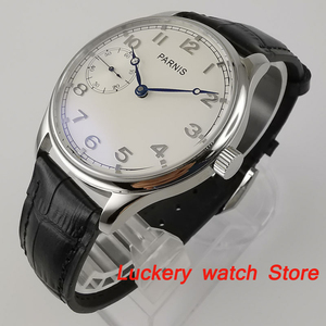 Image 4 - Parnis 44mm Manual mechanical watch white dial 17 jewels 6497 hand winding movement Casual Men watches