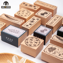 Mr.Paper 8 Designs Misty Forest Series Plant Style Creative Simple Hand Account Decor DIY Material Print Single Wooden Stamps