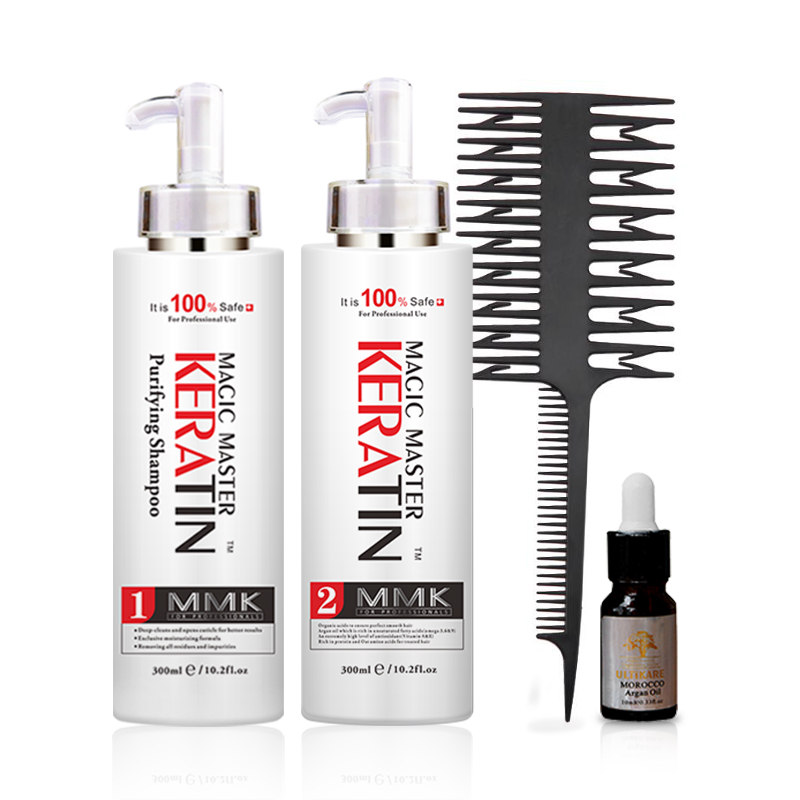 Straight Hair Treatment 300ml Keratin Without Formalin And Pungent Odor+300ml Purifying Shampoo Repair Damaged Hair+Free Gift