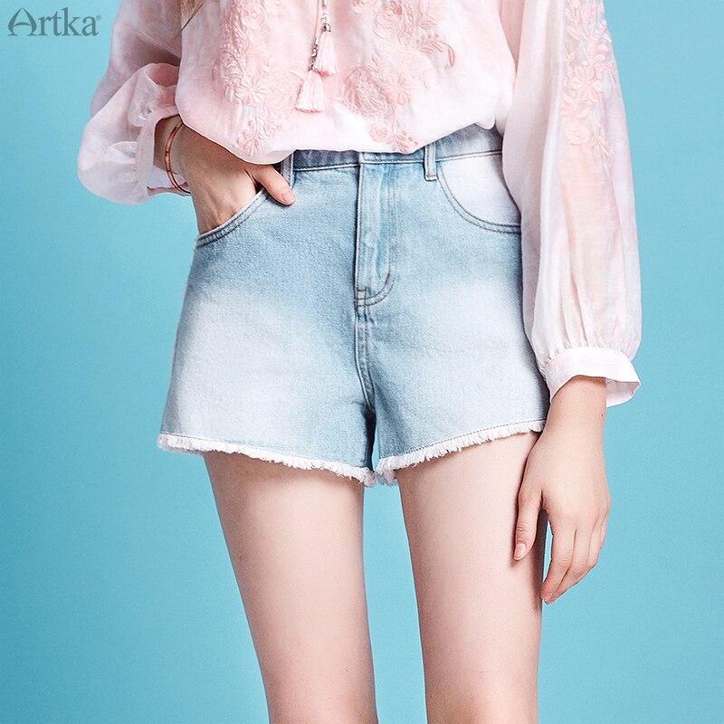 ARTKA 2020 Spring Summer New Women Shorts Fashion High Waist Denim Shorts Vintage Loose Rivet Tassel Short Jeans KN20005C