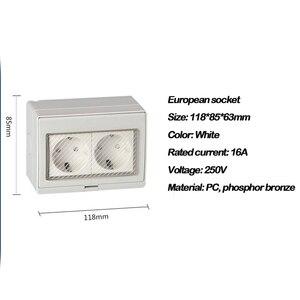 Image 2 - 壁ソケットeuデュアル電源アウトレット屋外電気schukoプラグpc外装防水パネルac 110〜250v 16A外バルコニー