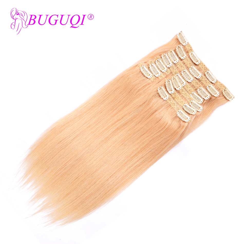 BUGUQI Hair Clip In Human Hair Extensions Malaysian #22 Remy 16- 26 Inch 100g Machine Made Clip Human Hair Extensions