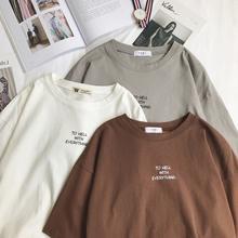 Feminino manga curta t-shirts soltas harajuku plus size 3xl carta impressa chique simplesmente all-match feminino estilo coreano ulzzang lazer
