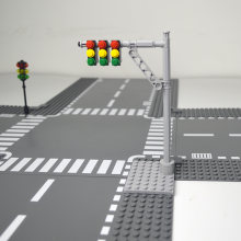 City train traffic light multiple car Signal light building block Accessories flat Compatible LegoINGlys city train(China)