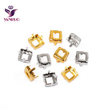 YANRUO 4428 4447 Square Copper K9 Empty Claw Settings for Fancy Stones Silver Gold Firmly Set Pedestal