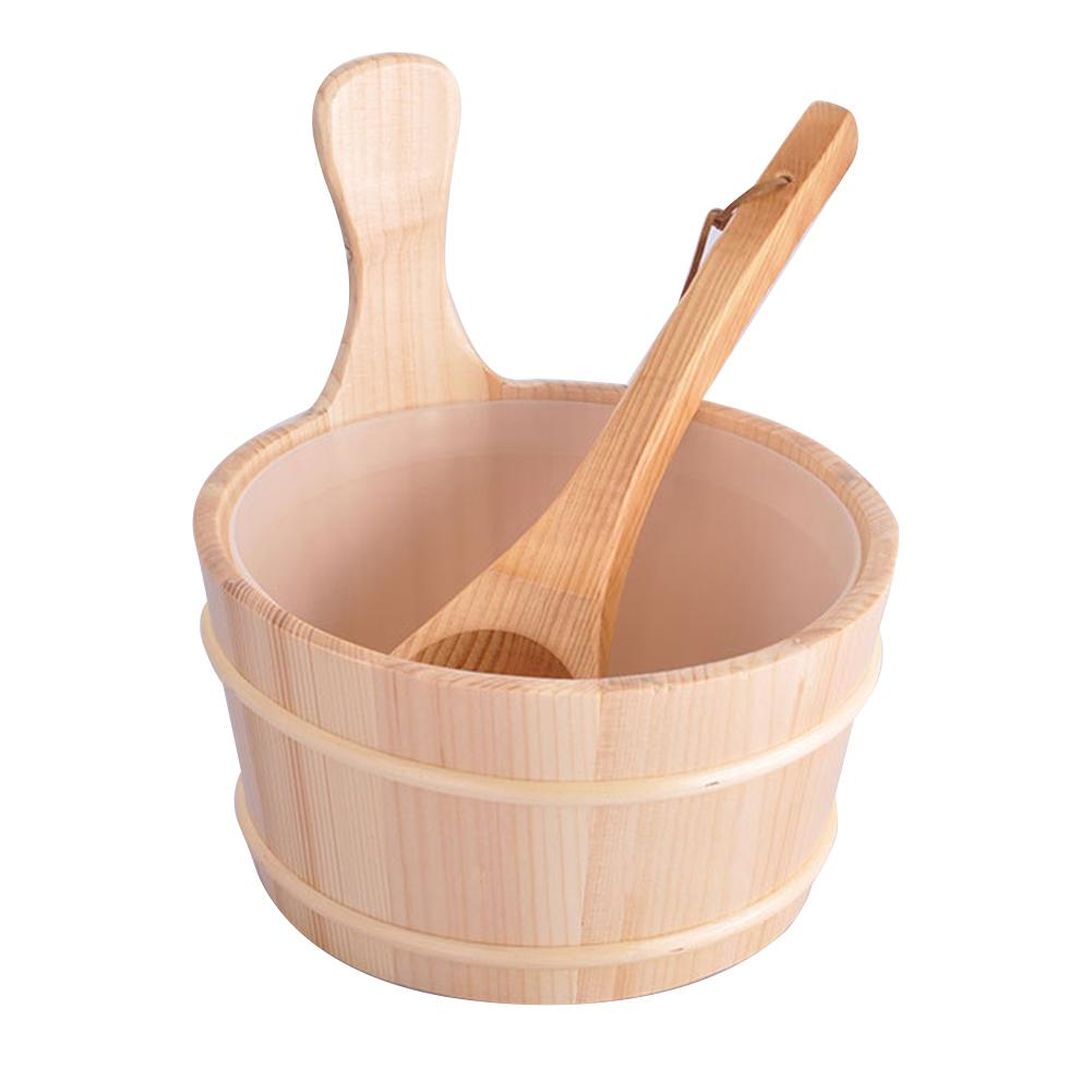 Sauna Wooden Bucket And Ladle Kit Sauna Accessories With Liner For Sauna & SPA-Made Of Premium Finland Pinewood Pinus Silvestris