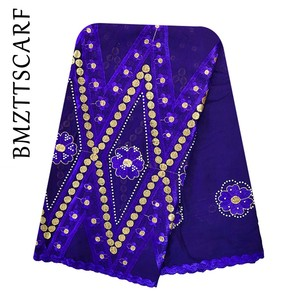 Image 3 - 100% baumwolle Schal Afrikanische Frauen Schals stickerei muslimischen frauen große baumwolle schal für schals BM973