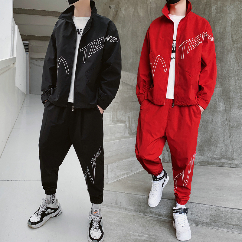 Casual Autumn Clothing Hoodie Suit Men Loose-Fit Popular Brand Youth Korean-style Trend Handsome Students Sports Clothing Two-Pi