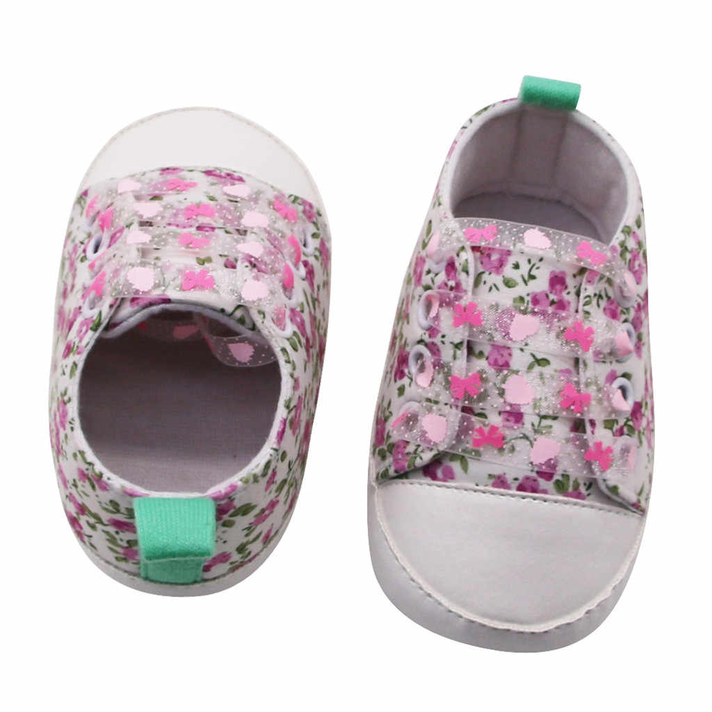 Sapatos de bebê meninas recém-nascido, estampa floral, sola macia, sapatos de berço, casual, sapatos unissex para bebês, primeiros passos