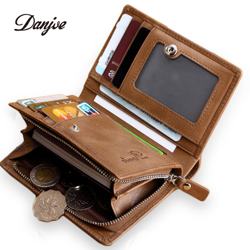 DANJUE Genuine Cowhide Leather Men Wallet Short Zipper Coin Purse Small Vintage Wallets Brand High Quality Designer Brand Pocket