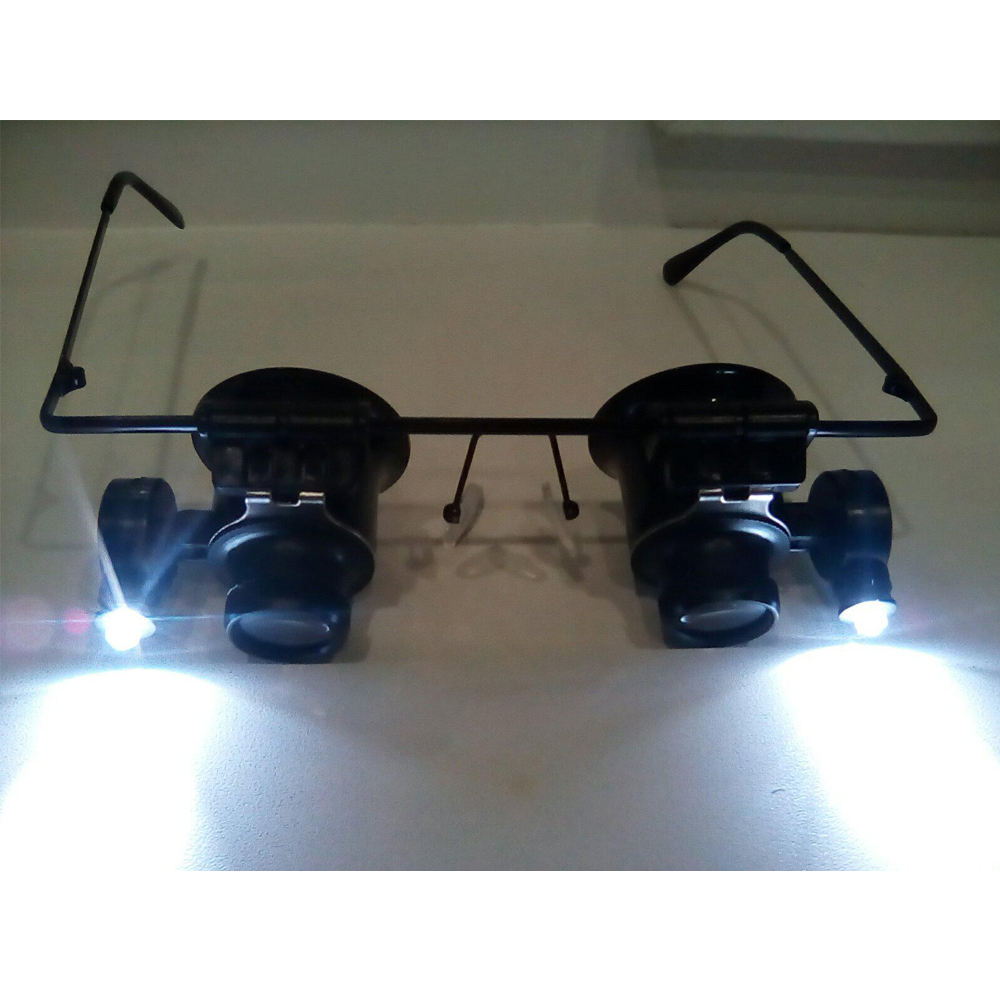 25x 25mm Jewelers Electronic Repair Headband Optical Glass Loupe Magnifier LED Light Loupe Binocular Eye Glasses Style 20X