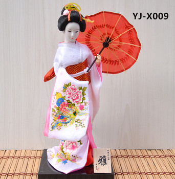 MYBLUE 30cm Kawaii Hand Make Japanese Geisha Kimono Doll  Sculpture  Japanese House  Figurine Home Room Decoration Accessories 1