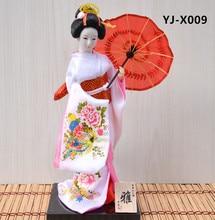 MYBLUE 30cm Kawaii Hand Make Japanese Geisha Kimono Doll  Sculpture  Japanese House  Figurine Home Room Decoration Accessories