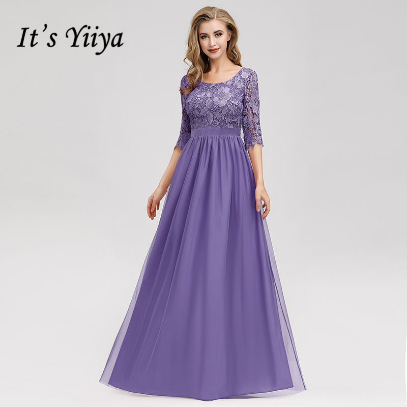 It's Yiiya Evening Dress Half Sleeve O-neck Women Party Dresses A-line Lace Robe De Soiree Plus Size Elegant Formal Gowns C432