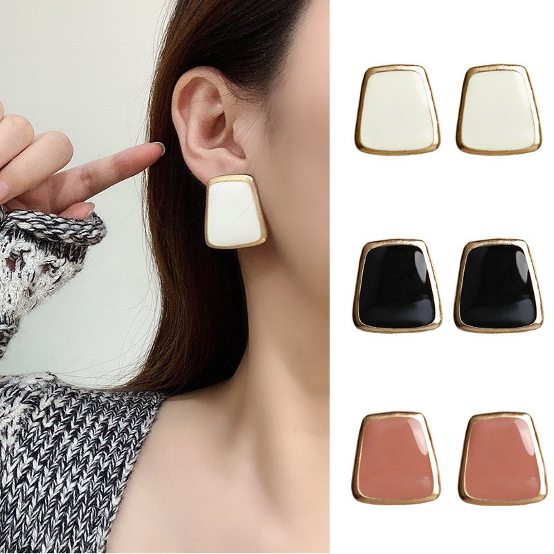 Trendy Square Colorful Gold Side Korean Earrings 2020 Simple Enamal Geometric Earrings Women Statement Big Stud Earring Jewelry