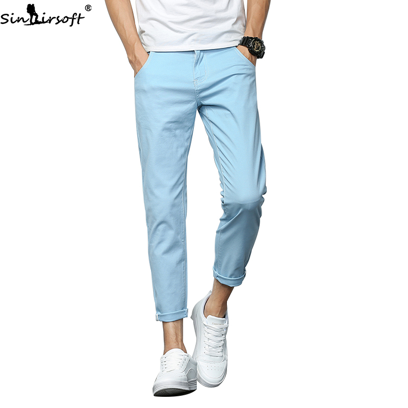 SINAIRSOFT Spring Summer 2019 Fashion Slim Pencil Pants Casual Long Haren Trousers Male Cotton Solid Color Pantalon Hombre 27-36