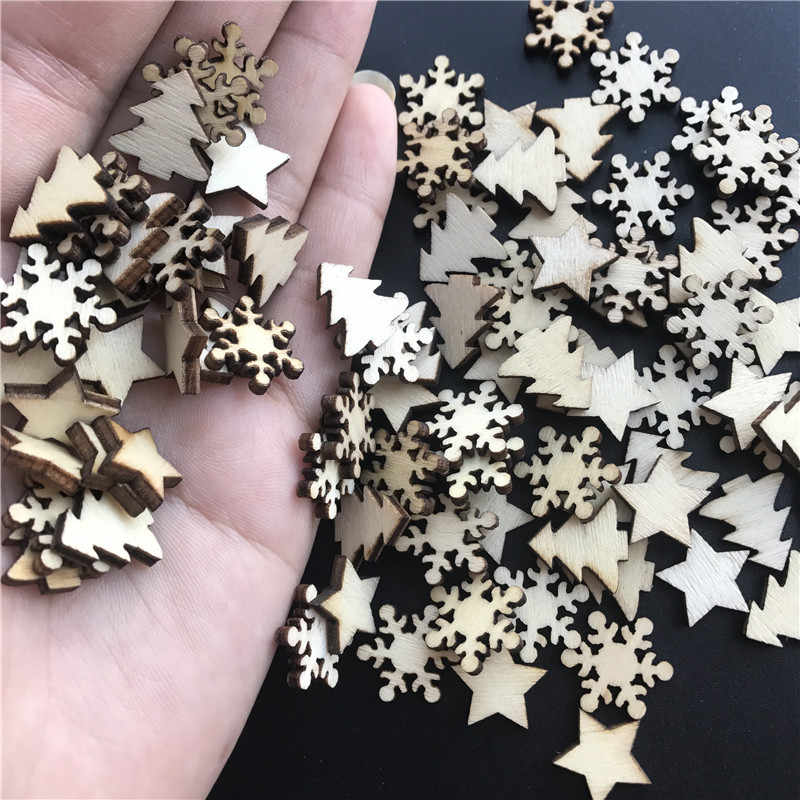 50 Pcs Kayu Pohon Natal Kepingan Salju Bintang Diy Natal Gantung Ornamen Liontin Meja Confetti Natal Dekorasi Rumah