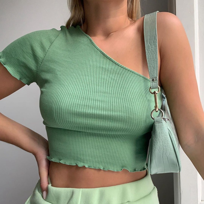 Meihuida Women Sexy One Shoulder Sweaters Tops Slim Summer Casual Ruched Short Sleeve Knitted Stretch Tube Tops Crop Top