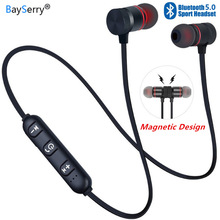 V5.0 Bluetooth Earphone Sports Neckband Magnetic Wireless Headset For All Phones Stereo Earbuds Music Metal Headphones with Mic wireless sports music headphones magnetic wireless bluetooth headset phone neckband sports earbud headset with microphone