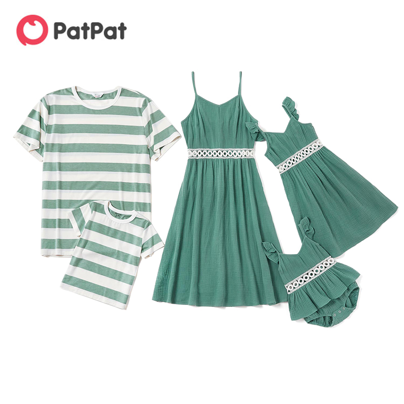 patpat-2020-new-arrival-summer-mosaic-family-matching-cotton-hollow-out-lace-flutter-sleeve-tank-dresses-stripe-t-shirts