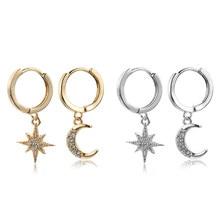 1 par novo simples pequena estrela minúscula lua crescon huggie hoop brincos encantos orelha piercing punhos da orelha moda feminina jewealry