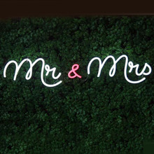 Custom Made Neon Sign for Mr & Mrs Only LED Wall Lights Party Wedding Shop Window Restaurant Birthday Decoration(China)
