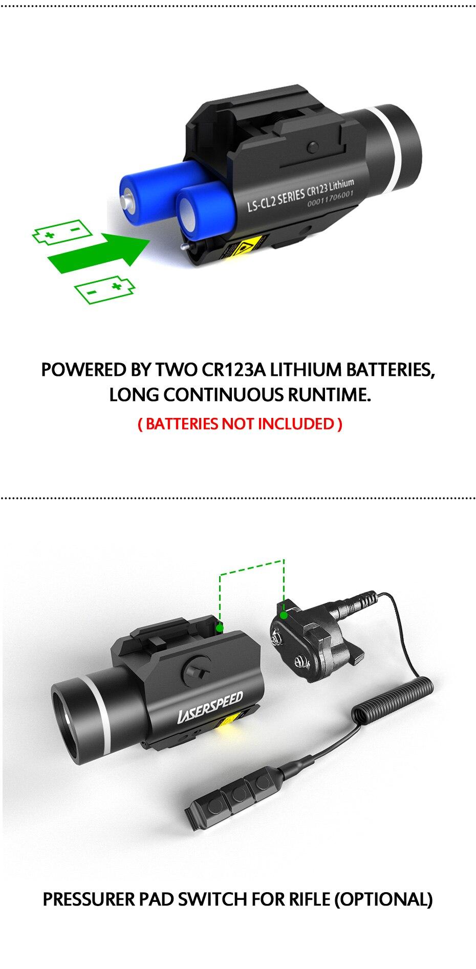 mira laser verde com 450lm lanterna led