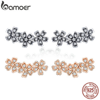BAMOER 925 Sterling Silver Daisy Flower Clear CZ Stud Earrings for Women Jewelry Valentines Day Gift SCE419