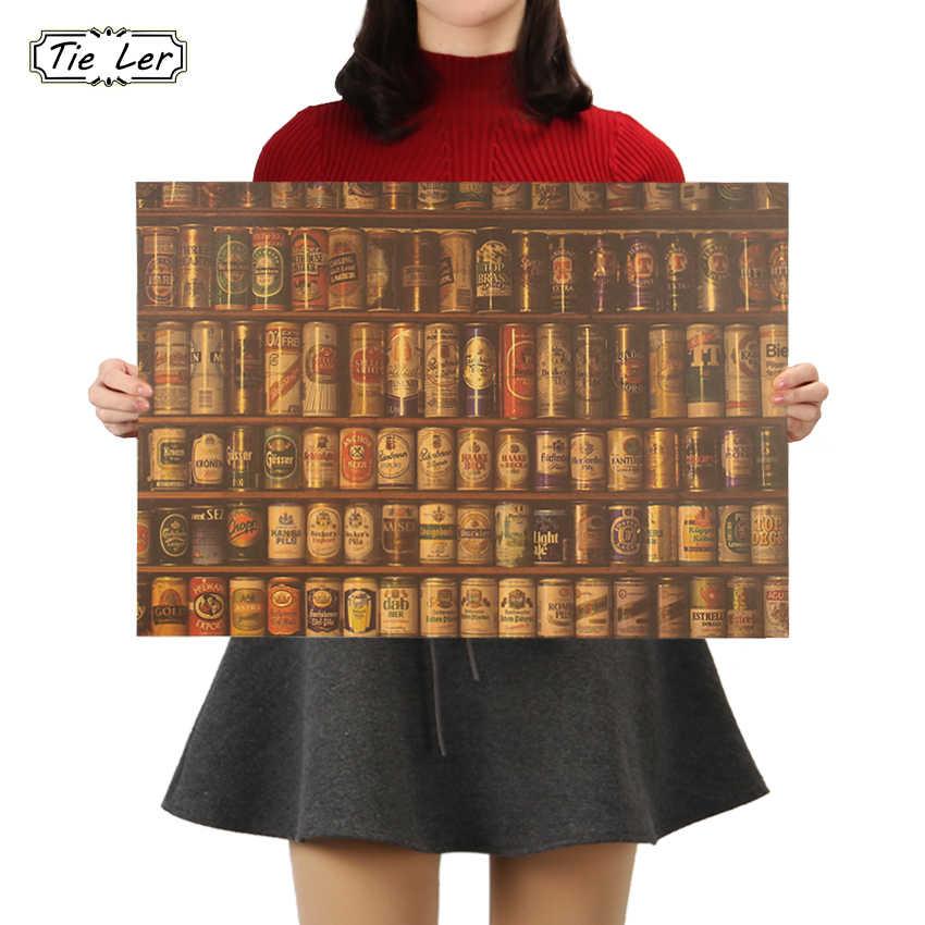 Kravat LER bira ansiklopedisi grafik evrimsel tarih Bar sayacı süsleme mutfak Retro Poster duvar Sticker 51.5X36cm