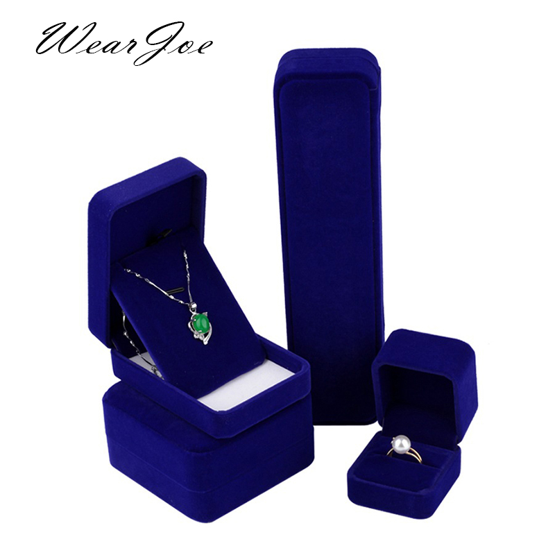 Wholesale Blue Velvet Wedding Ring Box Engagement Valentine Love Birthday Gift Jewelry Charm Bracelet Boxes Packaging Case Pouch